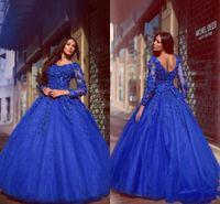 fleur de tulle en cristal achat en gros de-Sexy 2017 Robes De Quinceanera Chérie Royal Bleu Tulle 3D Fleurs Perle Robe De Bal Manches Longues Ruffy Plus La Taille Parti De Bal Robes De Soirée