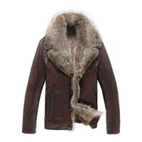 Wholesale Mens Leather Jacket Real Fur - Fall-2015 NEWS Mens Real Raccoon Fur Collar Jacket Classic Real Fur Keep warm Noble Leather Coat 18505