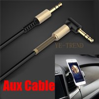 Wholesale Male Audio Flat - 3.5mm jack aux cable 3.5mm male to male 90 degree right angle flat audio cable for car   PM4 PM3   headphone aux cord