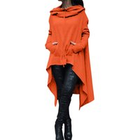 Wholesale long sleeve belted blouse - Autumn Women Irregular Long Blouses Pullover Long-sleeved Women's Hoodies Casual Hoodies American Eur sudaderas Mujer top clothing