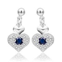 Wholesale Swarovski Crystals Rhinestones Stones - Top quanlity fashion 925 sterling silver cute heart love wedding blue Swarovski Elements Austrian crystal stone earring jewelry E566