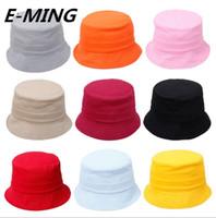 erkek çocuk kovası şapkaları toptan satış-Kalite Tasarımcısı Çocuk Düz Bahar Yaz Kova Şapka Çocuklar Boş Güneş Balıkçılık Şapka Popüler Kız Erkek Balıkçı Güneş Kap Özel Renk Logo