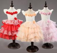 Wholesale Toddler Tutu Dress Cake - toddler baby girl cake dress princess 3d flowers wedding dress girls tutu dress layered tutu dress princess free shipping in stock