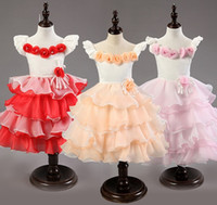 Wholesale baby knee cap online - toddler baby girl cake dress princess d flowers wedding dress girls tutu dress layered tutu dress princess in stock