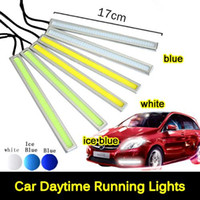 Wholesale Peugeot Led Daytime Running Light - Ultra Bright 15W 17cm Silver Shell Daytime Running light 100% Waterproof COB Day time Lights LED Car DRL Driving lamp 2pcs lots