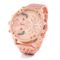 Wholesale Watch Stainless Steel Compass - Luxury Brand Oulm Military Watches Rose Gold Big Dial Quartz Watch 2 Time Zones Men Full Stainless Steel Wristwatch