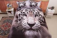 Wholesale tiger comforter set queen adult - 3D Bedding Set tiger Pattern Twin Queen King Size Home Textiles Duvet Covers Bed Linen Pillow Cases Wholesale Home textile