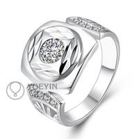 Wholesale Rings Silver Zircon - R743 Hot Sale Zircon Bezel Setting Silver Plated Brass Round Shape Women Finger Rings Jewelry in Fashion Design