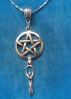 Wholesale Wholesale Goddess Jewelry - Pentagram Fertility Goddess Necklace Charms Chain Necklace Pendants Brand Collar Statement Choker Vintage SilverWomen Jewelry 20pcs Q981