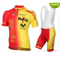 Wholesale Movistar Cycling Team - New arrive 2015 movistar ESPANA Spain Team Cycling jersey and bib shorts set summer mens bike clothing Yellow & Red Color wea