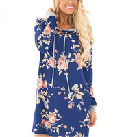 общий пуловер оптовых-Длинная толстовка с капюшоном женская рубашка с цветочным принтом толстовка с капюшоном пуловеры комбинезоны для женщин 2017 осень WS1760Z