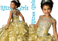 Wholesale Portrait Kid - 6687 Ritzee Girls Ball gowns Girls Pageant Dresses 2015 Halter Sequins Yellow Little Kids Party Gowns