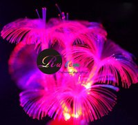 UK led fiber tree - Battery Operated Red Yellow Blue White Pink Fairy Fiber Optic Lamp Trumpet Flower 10 Led String Christmas Wedding Decorations Light for Home