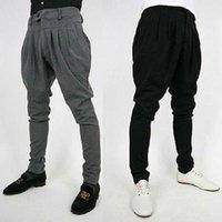 Wholesale Korean Baggy Pants - Fashion Mens Korean Casual Pants Slim Fit Long Trousers Slacks Baggy Harem Blacks  Greys Pleated Free Shipping 4 Size