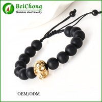 Wholesale Stainless Steel Skull Beads - BC Jewelry Natural round Stone Skull Bangles Beads Charm Bracelet For Women 2015 Bracciali Pulseras Men Jewelry DIY BC-113