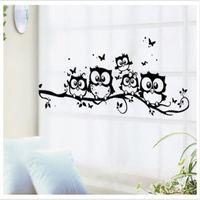 baykuş oda dekoru toptan satış-Ev Dekor Çıkarılabilir Vinil Çıkartması Baykuş Karikatür Duvar Sticker Çocuk Kreş Odası