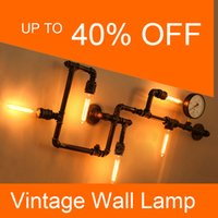 Wholesale Vintage Bronze Lamps - Wholesale-Vintage Wall lamps 5*E27 bulbs 40W Iron painted Black color or Bronze color water pipe wall lights (No bulbs)