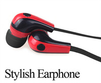 Wholesale Stylish Earphones For Iphone - Stylish In-Ear Stereo Earphone Earbud Headphone for iPod iPhone MP3 MP4 Smartphone Red & Black DHL free shipping ZKT