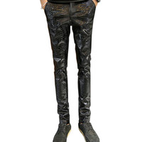 Wholesale leather pants 36 men - Wholesale- MORUANCLE Mens Faux Leather Pants PU Motorcycle Ridding Suede Trousers Slim Fit Biker Leather Joggers For Male Size 28-36