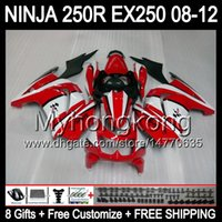 Wholesale kawasaki ninja white red - 8Gifts+ Red white Body For KAWASAKI NINJA ZX 250R EX250 08-12 MY23 ZX250R 08 09 10 11 12 EX 250 ZX-250R 2008 2009 2010 2011 2012 Red Fairing
