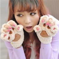 guantes de guantes de oso al por mayor-Envío gratis Fluffy Bear / Cat Plush Paw / Claw Guante-Novedad Halloween suave toalla de señora medio guantes guantes cubiertos