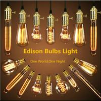 Wholesale Vintage Bedroom Decor - Retro lamp st64 G80 vintage edison bulb e27 incandescent bulb 110v 220v holiday lights 40w filament lamp lampada for home decor