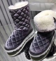 Wholesale Pull Boots - 2017 winter Womens logo Appliques black pink velvet Light weight warm Shearling fur lining pull on short snow Boots