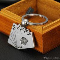 Wholesale Flush Poker - Fashion poker key rings alloy Royal Flush pendant poker keychain key chains bags key pendants jewelry promotion Christmas gift 240219