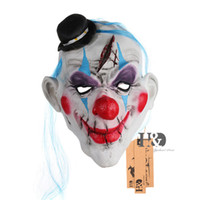 Scary Clown Latex Mask com Hat Red Rose Cosplay Full Face Terror Masquerade Adulto Ghost Party Mask para Halloween Props Costume