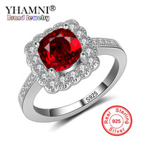Wholesale 1ct diamond silver ring - YHAMNI Luxury 1ct 6mm Natural Red Gem Stone Rings for Women Real 925 Solid Silver CZ Band Engagement Wedding Rings Gift KR200