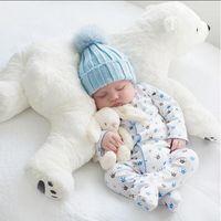 polare tiere großhandel-Neugeborenes Baby Kissen Eisbär Plüschtiere Kawaii Plüsch Baby Stofftier Kinder Spielzeug Für Kinderzimmer Dekoration Puppe
