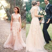 Wholesale blush beach wedding dresses for sale - Group buy 2016 Stunning Blush V Neck Cappped Wedding Dresses Sweep Train Lace Appliqued Tulle Wedding Gowns A Line Formal Wedding Party Gowns