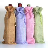 Wholesale Custom Printed Paper Bags Wholesale - Wholesale 14 colors 15 * 35cm Linen Drawstring wine red Bags wine bottle packaging jute red wine pouches custom logo