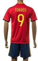 Wholesale Cheap Spain Jerseys - Customized 15-16 new season Spain home 9 TORRES Soccer Jerseys SetS,Cheap Athletic 22 ISCO uniforms,21 SILVA 18 JORDI ALBA Jersey Wear kITS