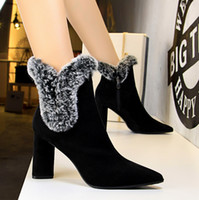 Scarpe Donna Inverno Flock Warm Short Boots Zipper Chunky High Heels Stivaletti Fur Pointed Martin Boot Black Camel