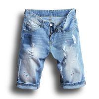 Wholesale Men S Jeans Bermuda - Fashion Mens Denim Shorts Summer Regular Casual Knee Length Short Bermuda Hole Rippe Jeans Shorts Plus Size 28-38