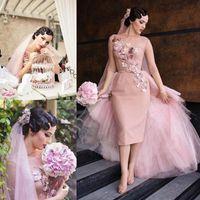 Wholesale Tea Length Organza Ball Gown - 2016 Blush Pink Vintage Wedding Dresses Bateau Neck Half Sleeves Handmade Flowers Tulle Sheath Tea Length Retro Short Wedding Party Dress