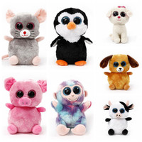 Wholesale Plush Toy Big Dog - TY Plush Dolls 22cm Ty Beanie Boos Cat Dog Rabbit Animal Big Eye Stuffed Plush Toys Pre Sell 120pcs LJJO3676