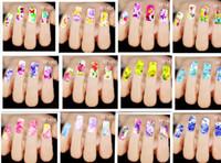 kelebek çivi toptan satış-2016 Sıcak satış Su Transferi Tırnak Çıkartmaları, Renkli Çiçekler Kelebek Tasarımları Filigran Nail Art Etiketler Dövmeler Süslemeleri Araçları