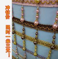 Wholesale Wholesale Pink Costume Pearls - Wholesale-Curtain lace curtain accessories wholesale   lob tassels edge spike   crystal beads   decorative lace three pearls