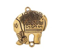 10 PCS mode antique or / argent de Lucky Elephant Charm Pendentifs # 92279