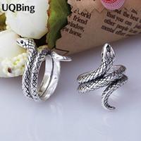 Wholesale Vintage Silver Snake Ring - Wholesale- Vintage Antique Retro 925 Sterling Silver Rings For Women Jewelry Thai Silver Snake Open Rings Anel de Prata Bague en argent