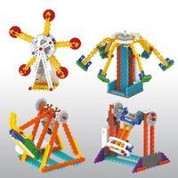 Wholesale Building Blocks Pirate Ship - Electric Toys Pirate Ship Ferris Wheel Playground Building Blocks Educational Toys Kit For Children Gift Wholesale