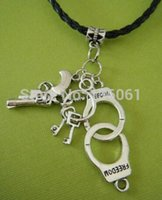 10PCS Vintage Silver Police Handcuffs Guns Charms Black Braided Leather Choker Statement NecklacePendants Jewelry X809