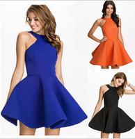 Wholesale Cheap Women Flare Dress - Cheap Royal Blue Orange White Black Mini Short Puffy Dresses For Prom Women Girls Vintage Summer Plus Size Backless Flared Party Dress M-XXL
