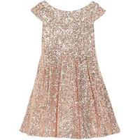 Wholesale Girls Bling Dresses - 2015 Girls Pageant Dresses Bling Rose Sequins Bateau Capped Sleeveless Zipper Tea Length Ruched Flower Girl Dresses A Line