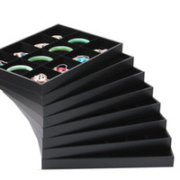 Jewelry black velvet earring display - Quality Black Velvet Jade Pendant Necklace Tray Holder Bracelets Ring Box Earrings Stud Tray Jewelry Organizer Display Stand Rack Props