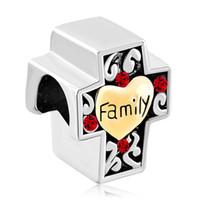 cristal cruz bead pulseira vermelho venda por atacado-MYD Jóias Red Cristal Garnet Birthstone Cruz Família De Metal Talão Encantos Europeus para Colar Pulseira Brincos