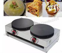 Wholesale head maker - Gas commercial crepe maker double-head crepe machine gas pancake maker mini pancake machine stainless steel pancake pan MYY