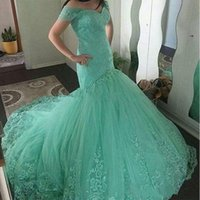 Wholesale fashion mint lace plus size mermaid for sale - Group buy Charming Mermaid Lace Evening Dresses Applique Off Shoulder Tulle Mint Green Long Party Dress Prom Formal Pageant Celebrity Gowns